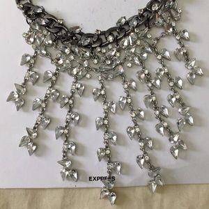 NWT Express silver rhinestone dangle choker